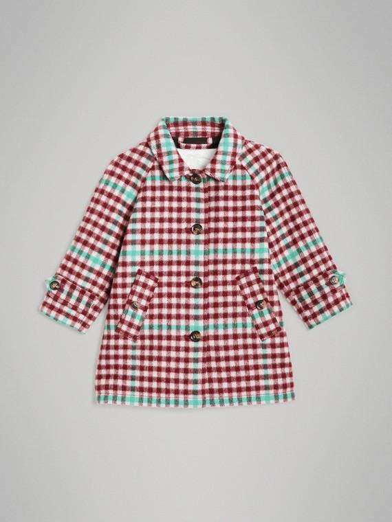 格紋羊毛中長大衣 (榴石粉紅色)