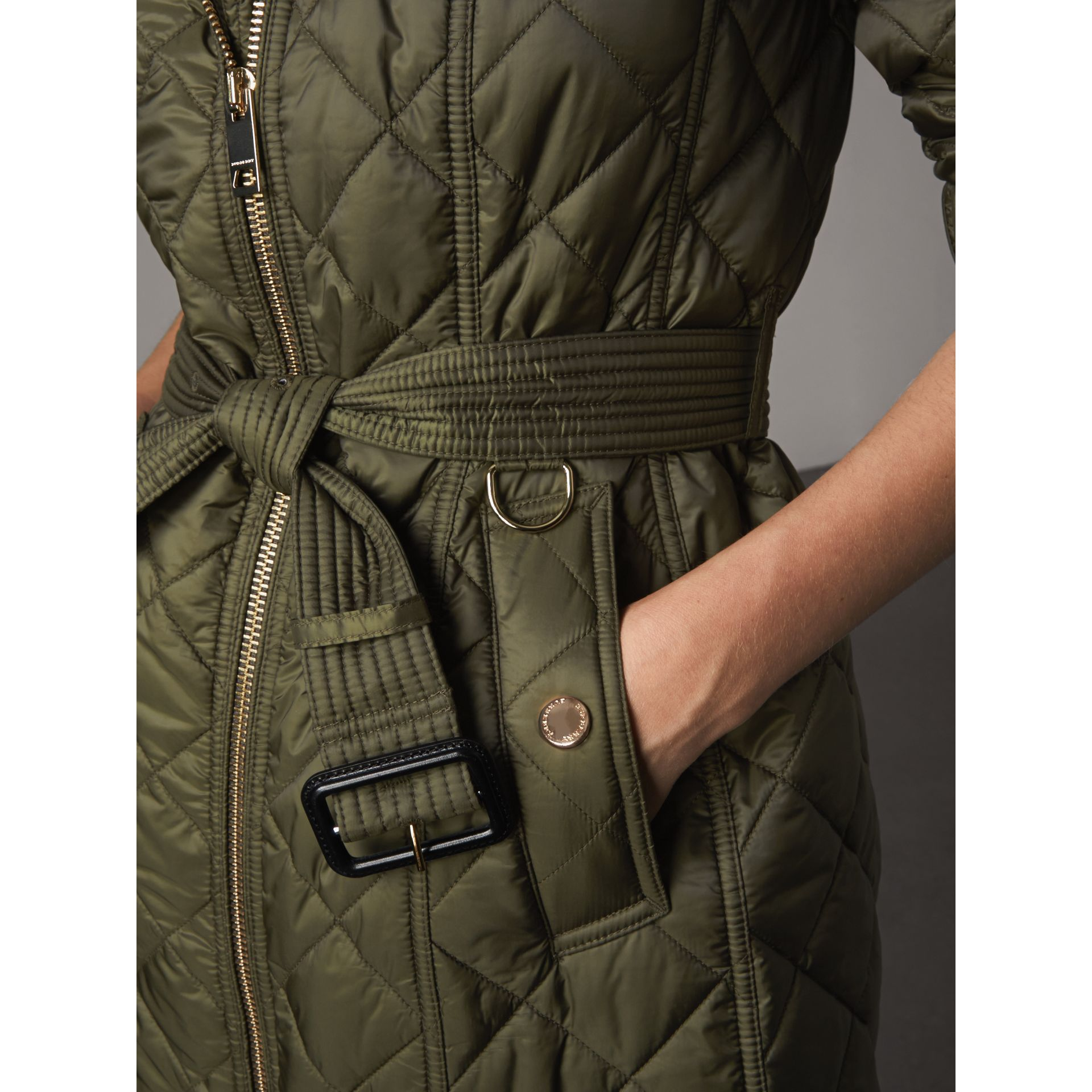 Detachable Hood Quilted Showerproof Parka in Military Khaki - Women | Burberry - gallery image 5
