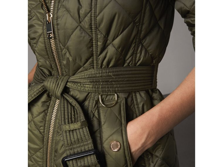Detachable Hood Quilted Showerproof Parka in Military Khaki - Women | Burberry United Kingdom - cell image 4
