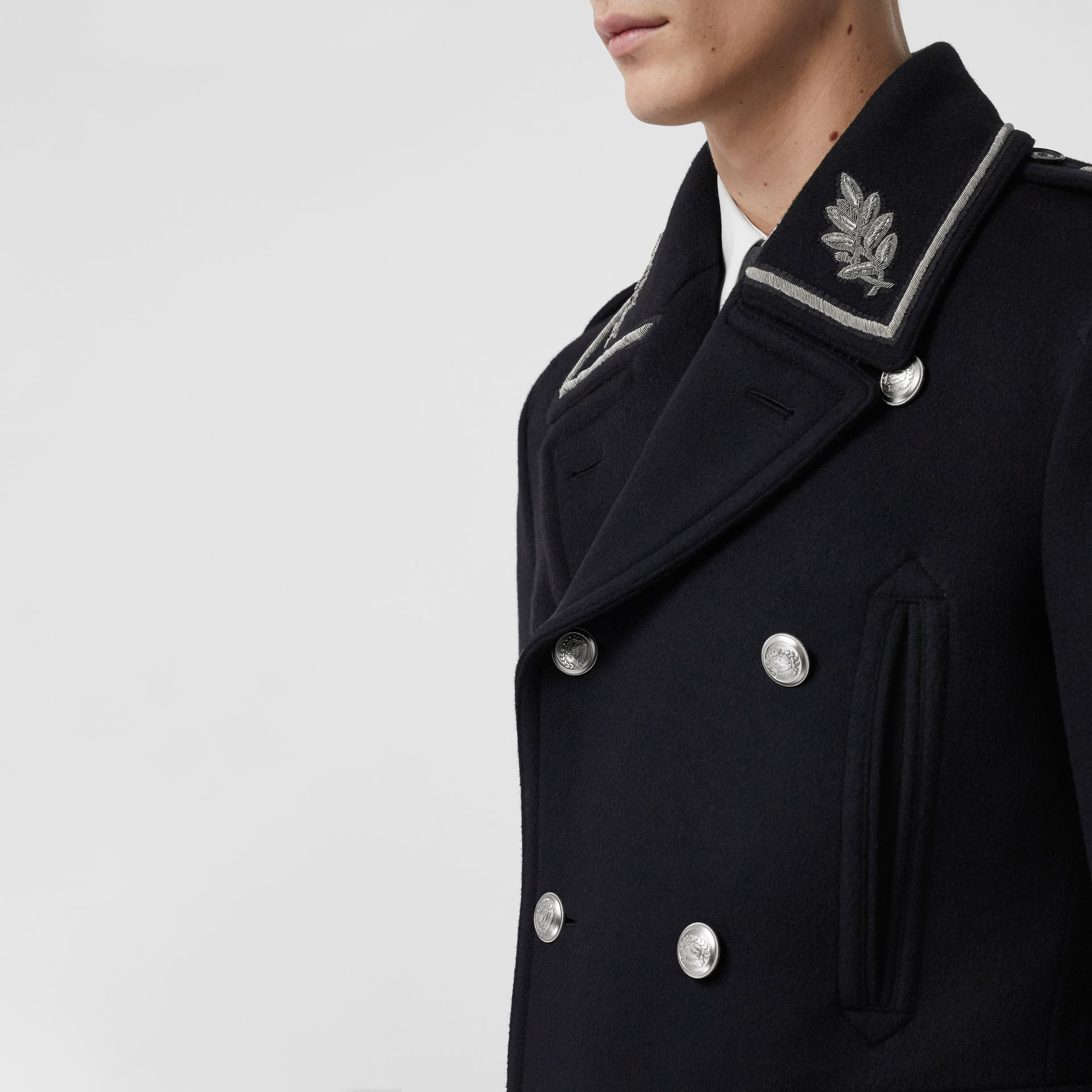 Bullion Wool Cashmere Pea Coat in Dark Navy - Men | Burberry Singapore - gallery image 1
