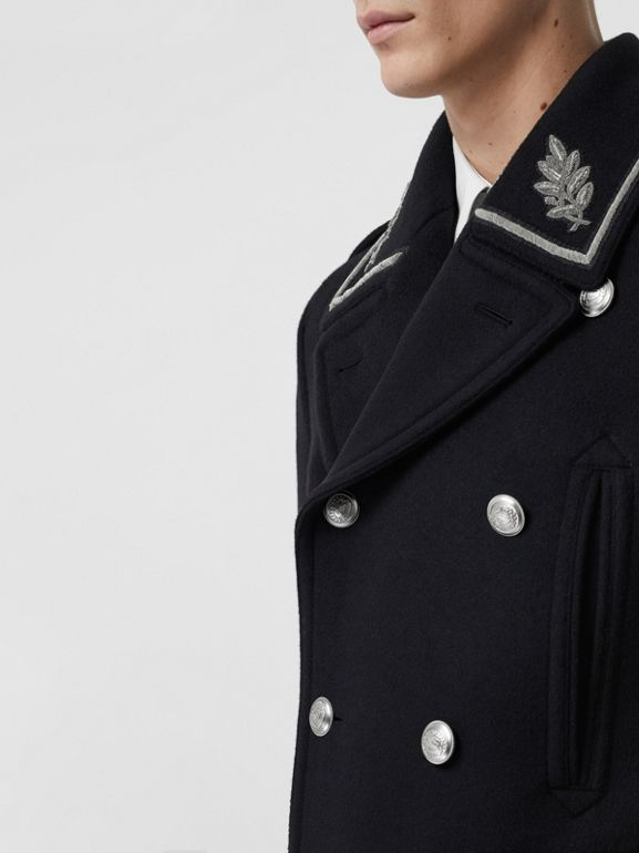 Bullion Wool Cashmere Pea Coat in Dark Navy - Men | Burberry Singapore - cell image 1