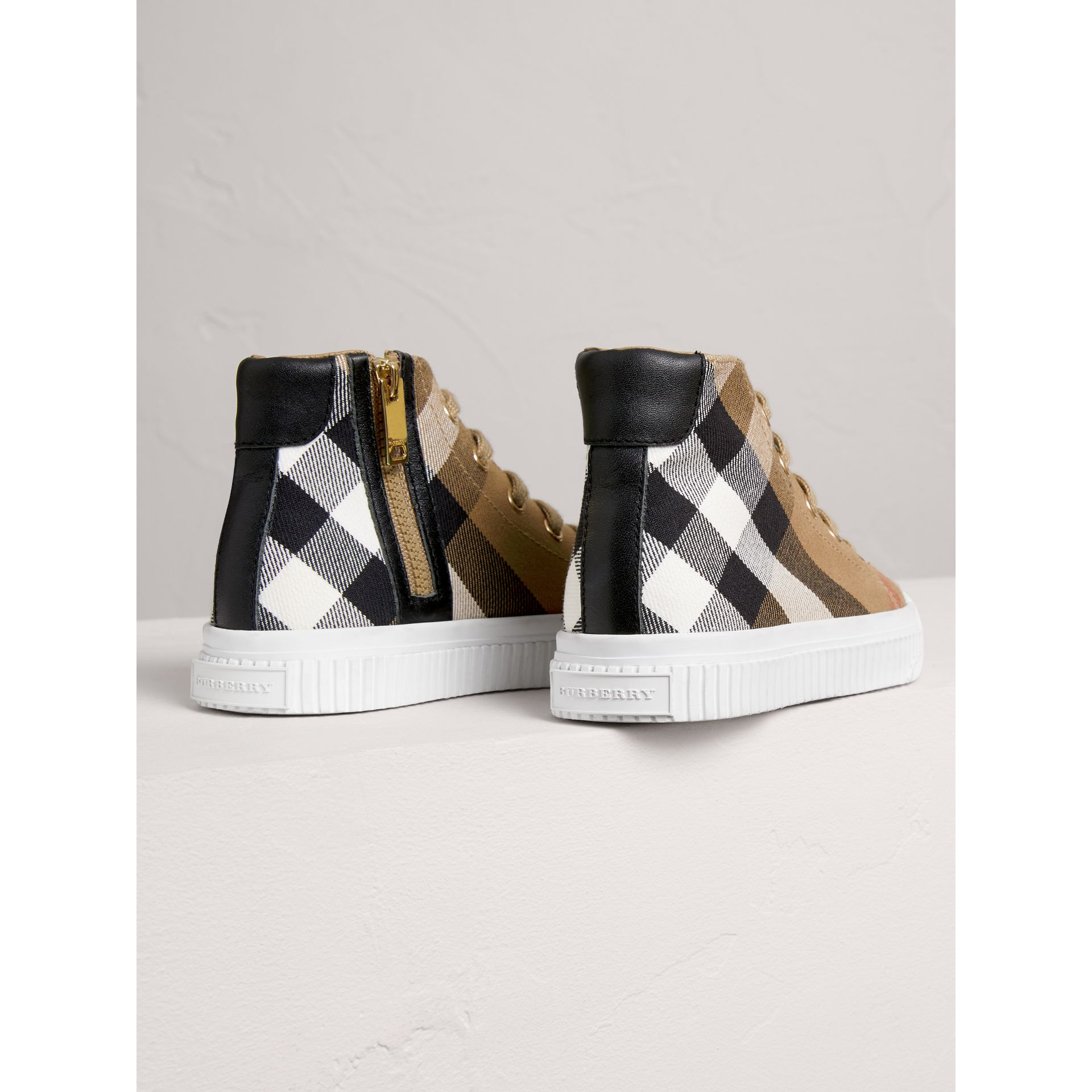 House Check and Leather High-top Sneakers in Classic/optic White | Burberry - gallery image 2