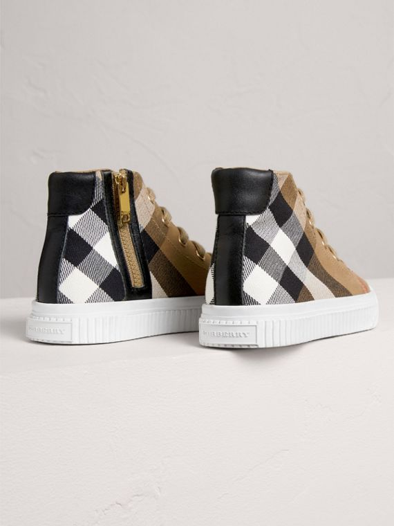 House Check and Leather High-top Sneakers in Classic/optic White | Burberry - cell image 2