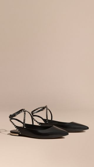 Studded Leather Slingback Sandals