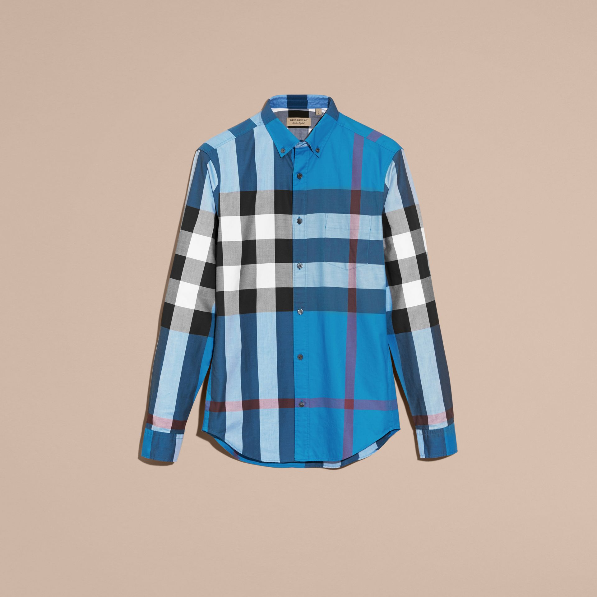 Marine blue Check Cotton Shirt Marine Blue - gallery image 4