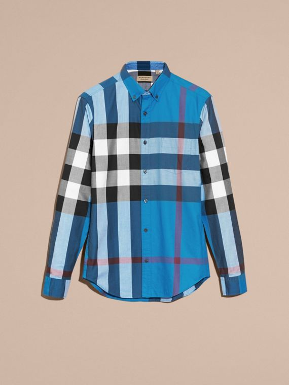 Marine blue Check Cotton Shirt Marine Blue - cell image 3