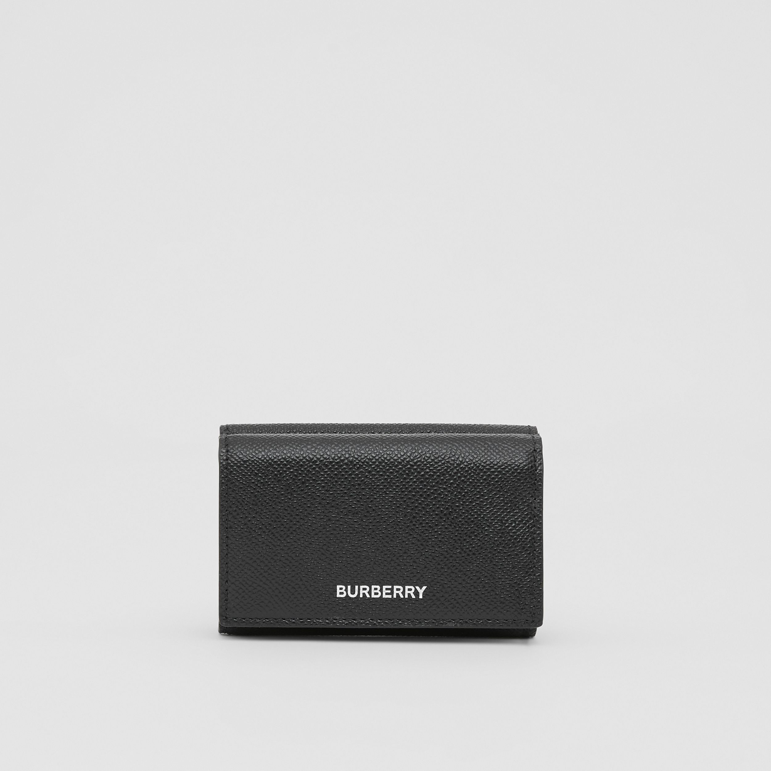 Small Grainy Leather Folding Wallet in Black - Men | Burberry - 1