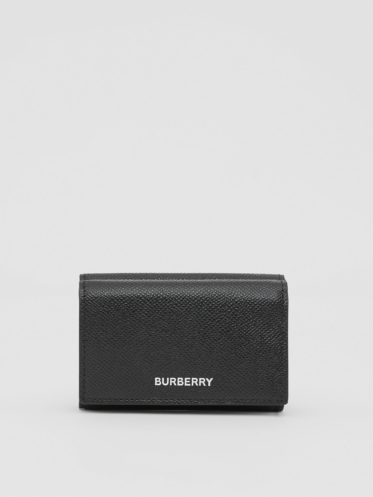 Small Grainy Leather Folding Wallet in Black