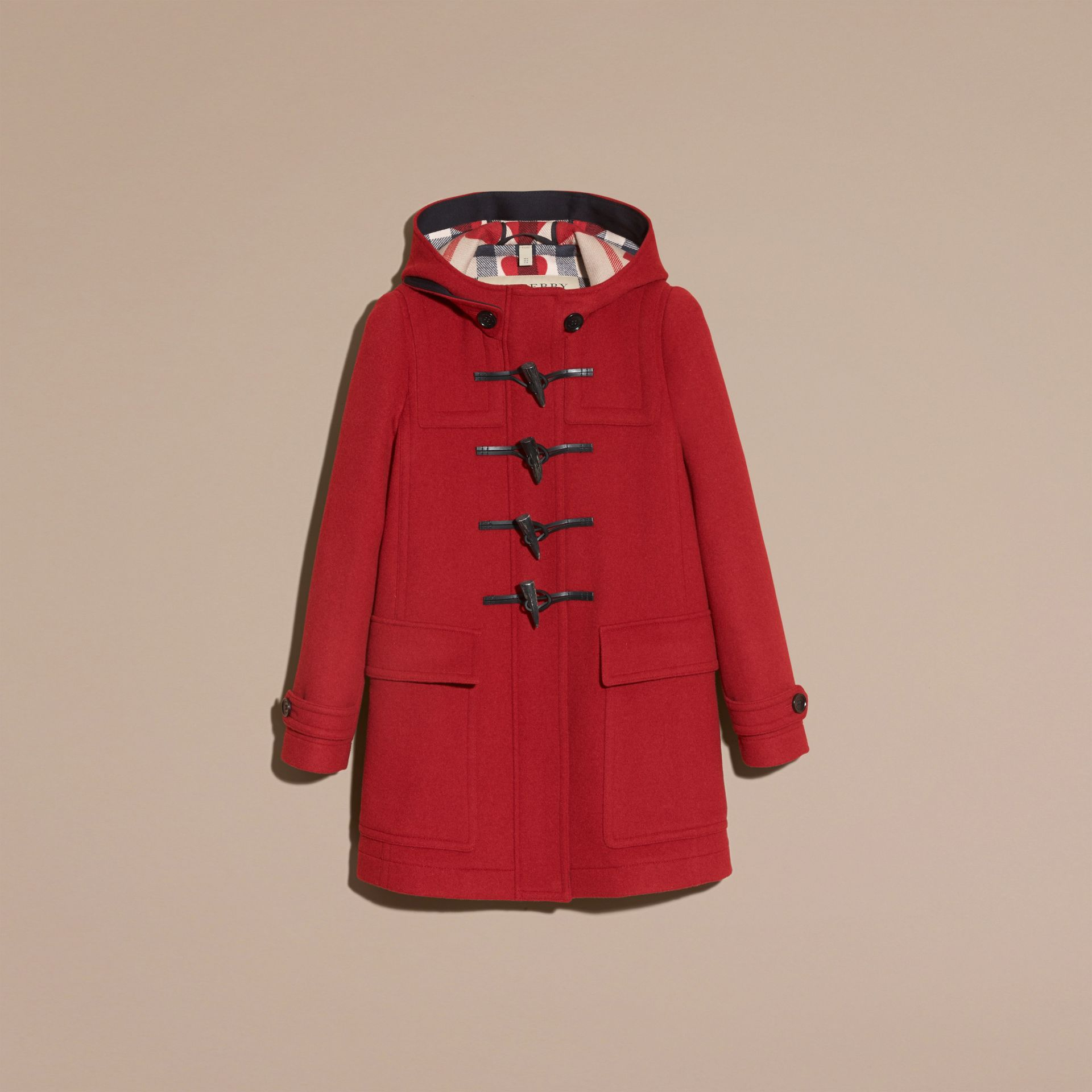 Windsor red Wool Duffle Coat with Check and Hearts Lining Windsor Red - gallery image 4