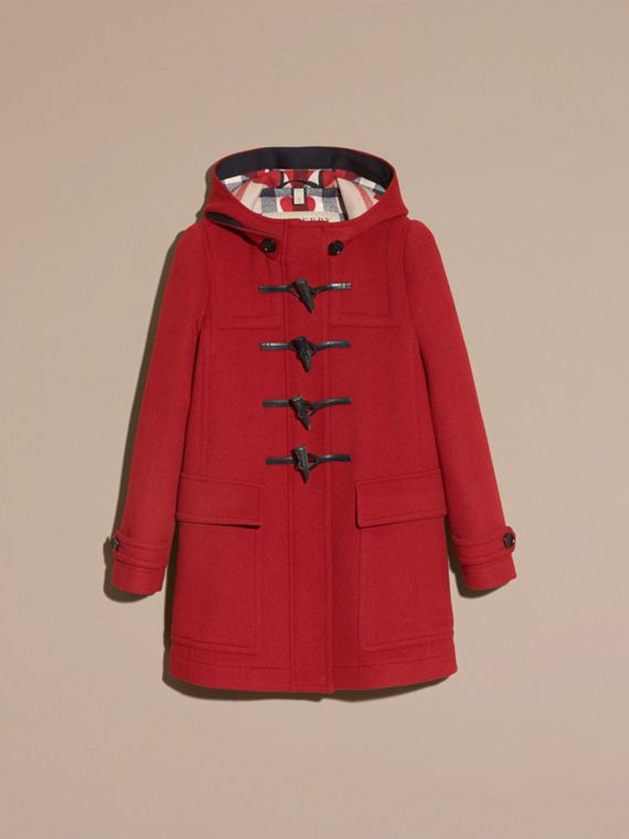 Windsor red Wool Duffle Coat with Check and Hearts Lining Windsor Red - cell image 3