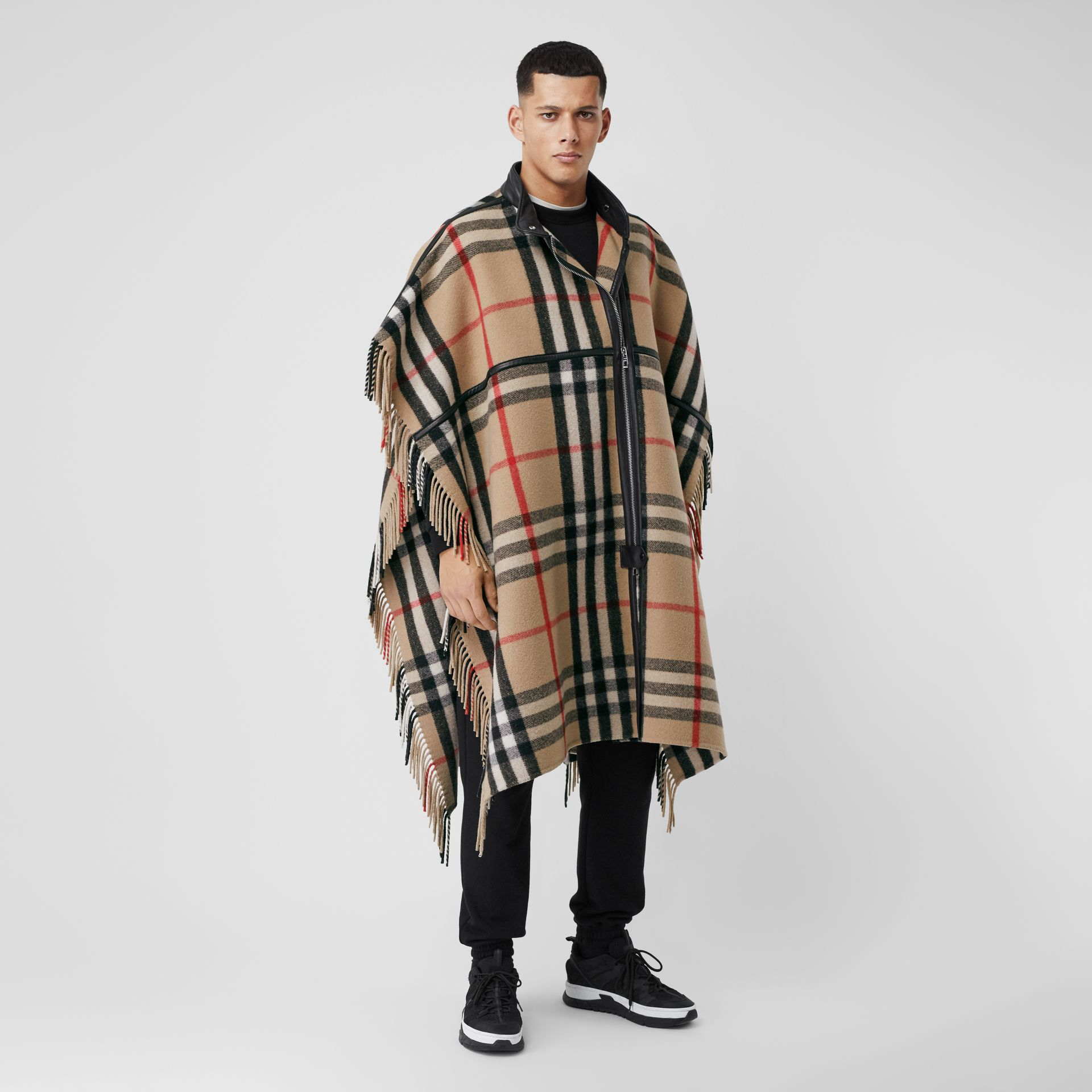 Check Wool Blend Zip-front Cape in Archive Beige | Burberry Australia - gallery image 6
