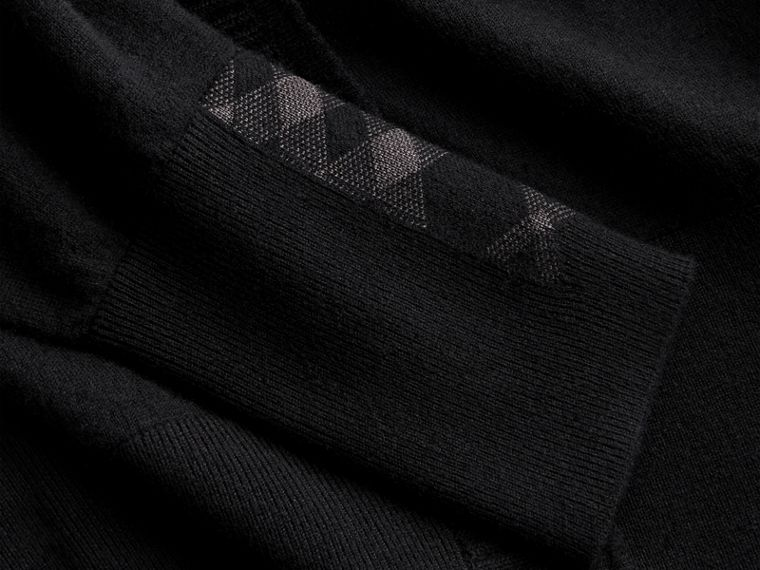 Open-knit Detail Cashmere Cardigan in Black - Women | Burberry - cell image 1