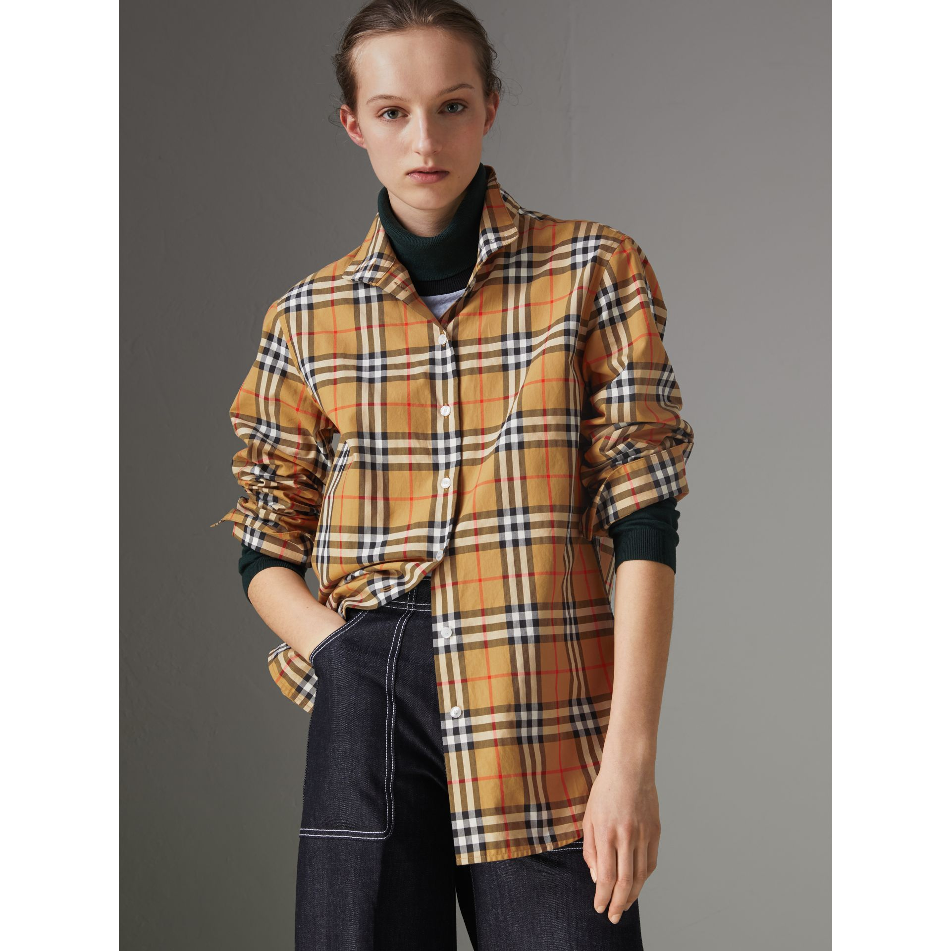 Stand Collar Vintage Check Cotton Shirt in Antique Yellow - Women | Burberry Canada - gallery image 4