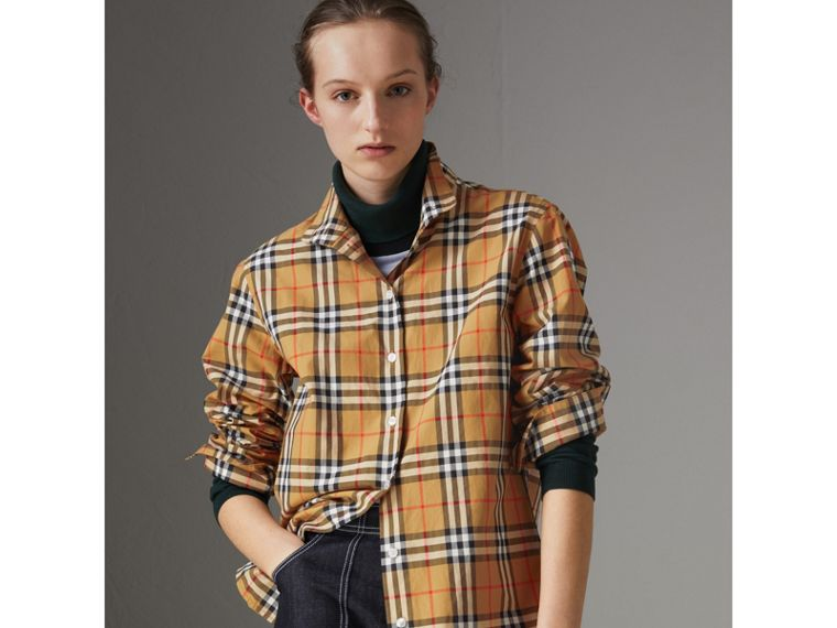 Stand-collar Vintage Check Cotton Shirt in Antique Yellow - Women | Burberry - cell image 4