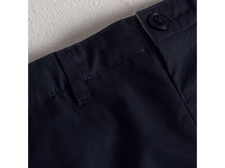 Check Detail Cotton Chino Shorts in Ink - Boy | Burberry - cell image 1