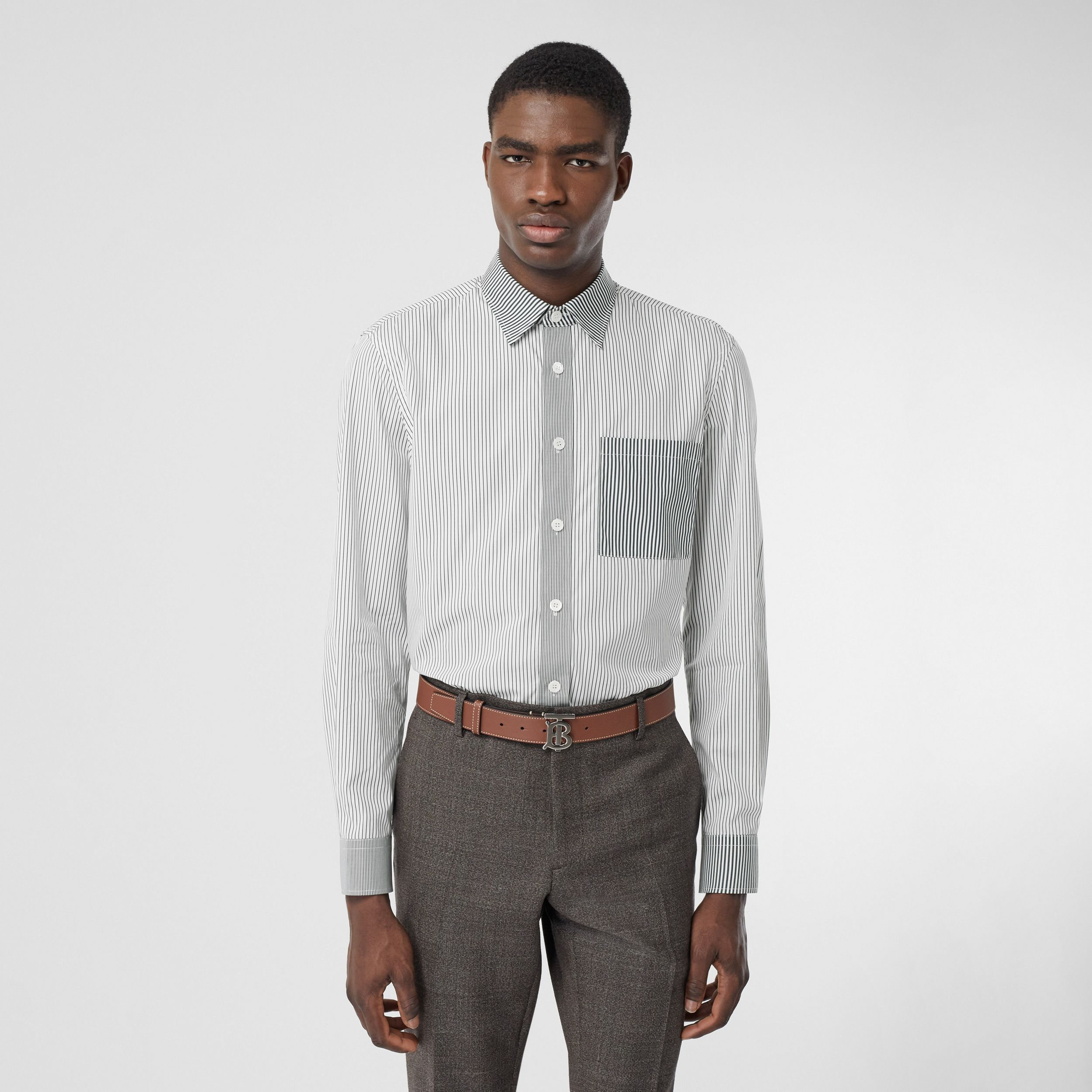 Classic Fit Contrast Stripe Cotton Shirt in Dark Pine Green - Men | Burberry - 1