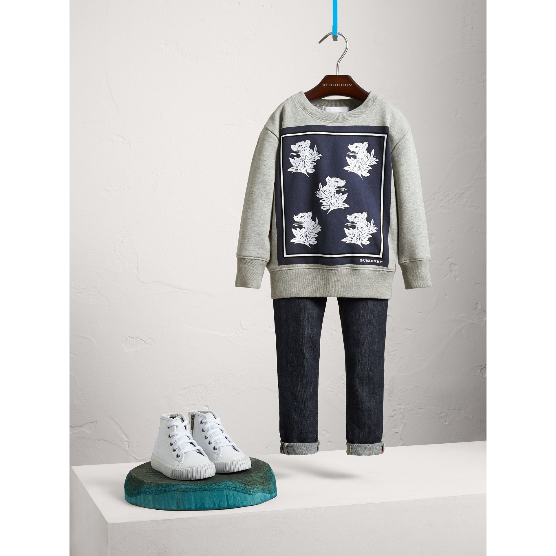 Beasts Print Cotton Sweatshirt in Deep Blue - Boy | Burberry - gallery image 1