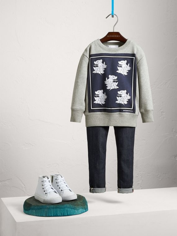Beasts Print Cotton Sweatshirt - Boy | Burberry Singapore