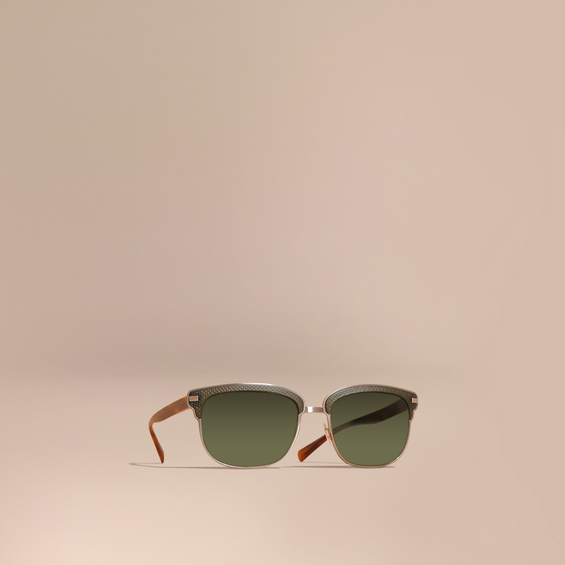 Textured Front Square Frame Sunglasses in Dark Olive - Men | Burberry - gallery image 1