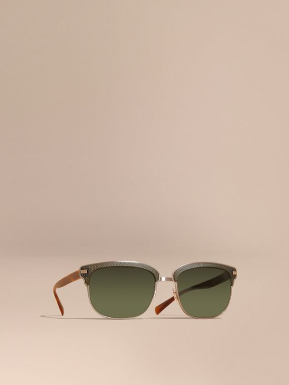 Textured Front Square Frame Sunglasses in Dark Olive - Men | Burberry
