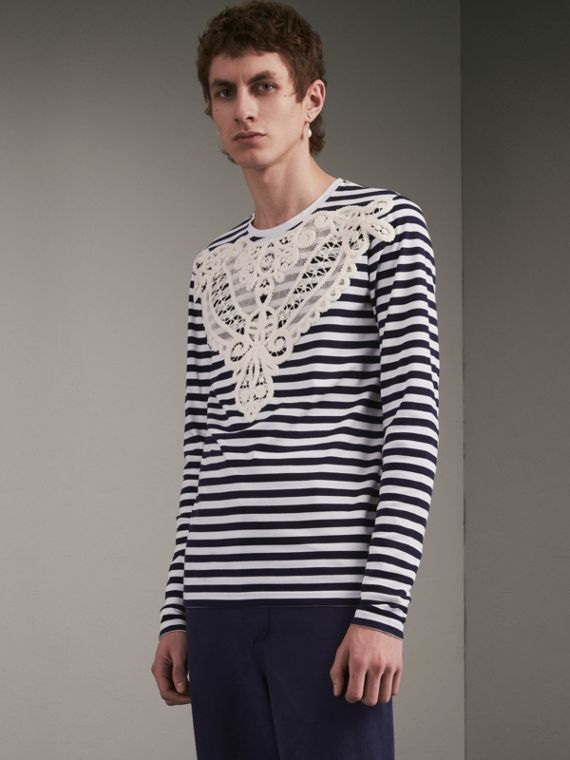 Unisex Lace Appliqué Breton Stripe Cotton Top in Indigo - Women | Burberry - cell image 2