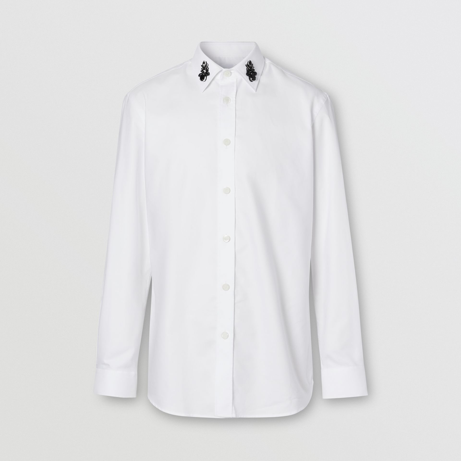 Classic Fit Crystal Detail Cotton Oxford Dress Shirt in White - Men | Burberry - gallery image 3