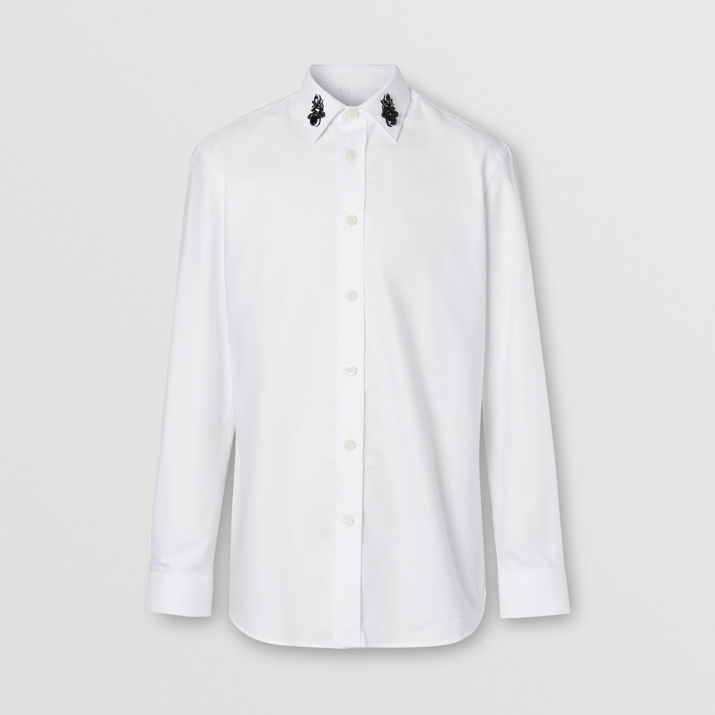 Classic Fit Crystal Detail Cotton Oxford Dress Shirt in White - Men | Burberry - 4
