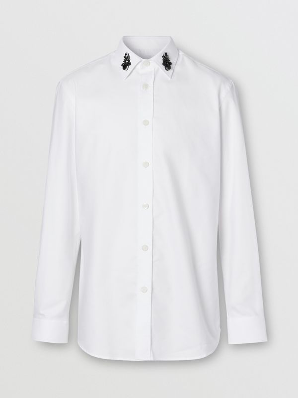 Classic Fit Crystal Detail Cotton Oxford Dress Shirt in White - Men | Burberry - cell image 3