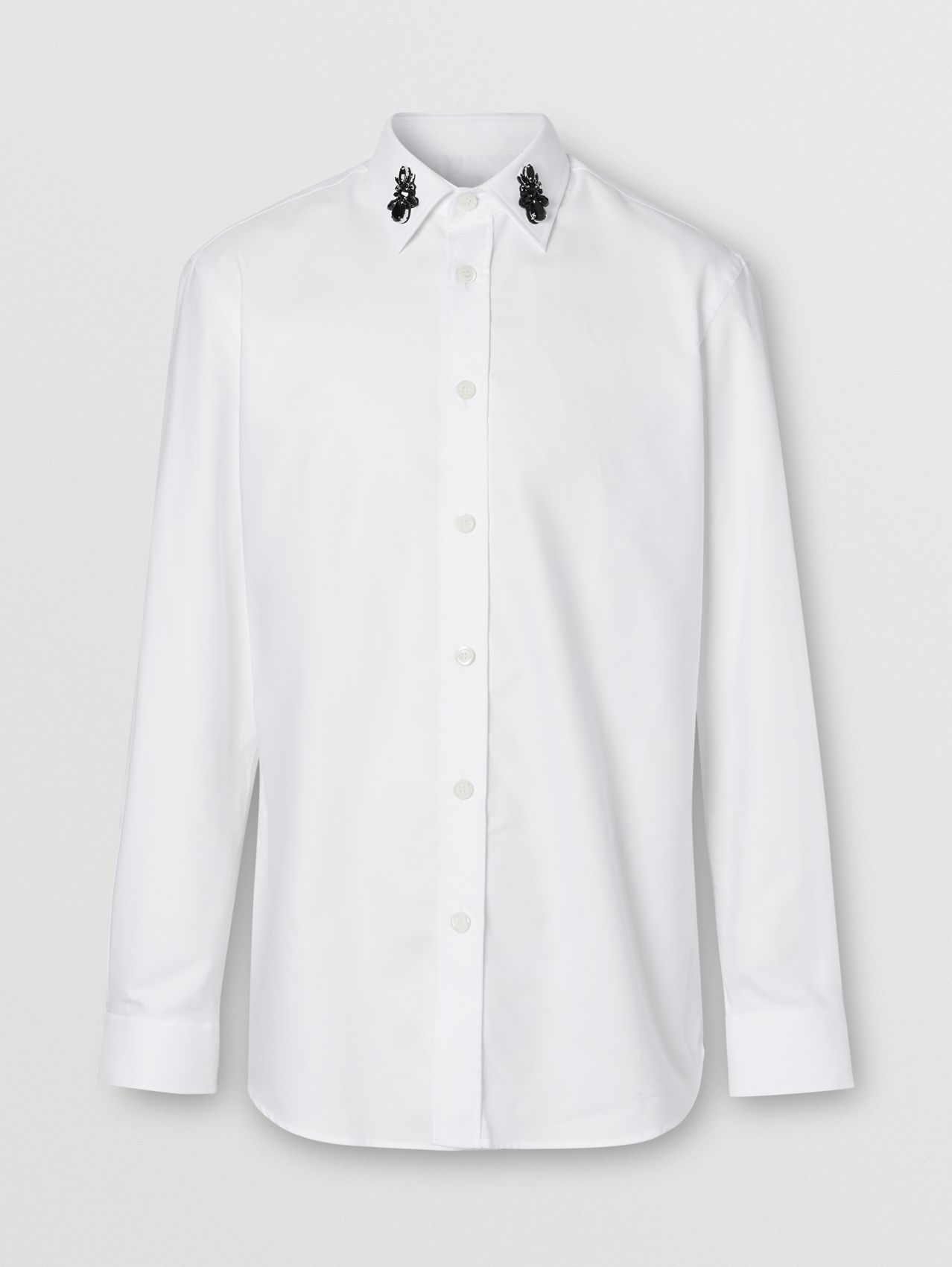 Classic Fit Crystal Detail Cotton Oxford Dress Shirt (White)