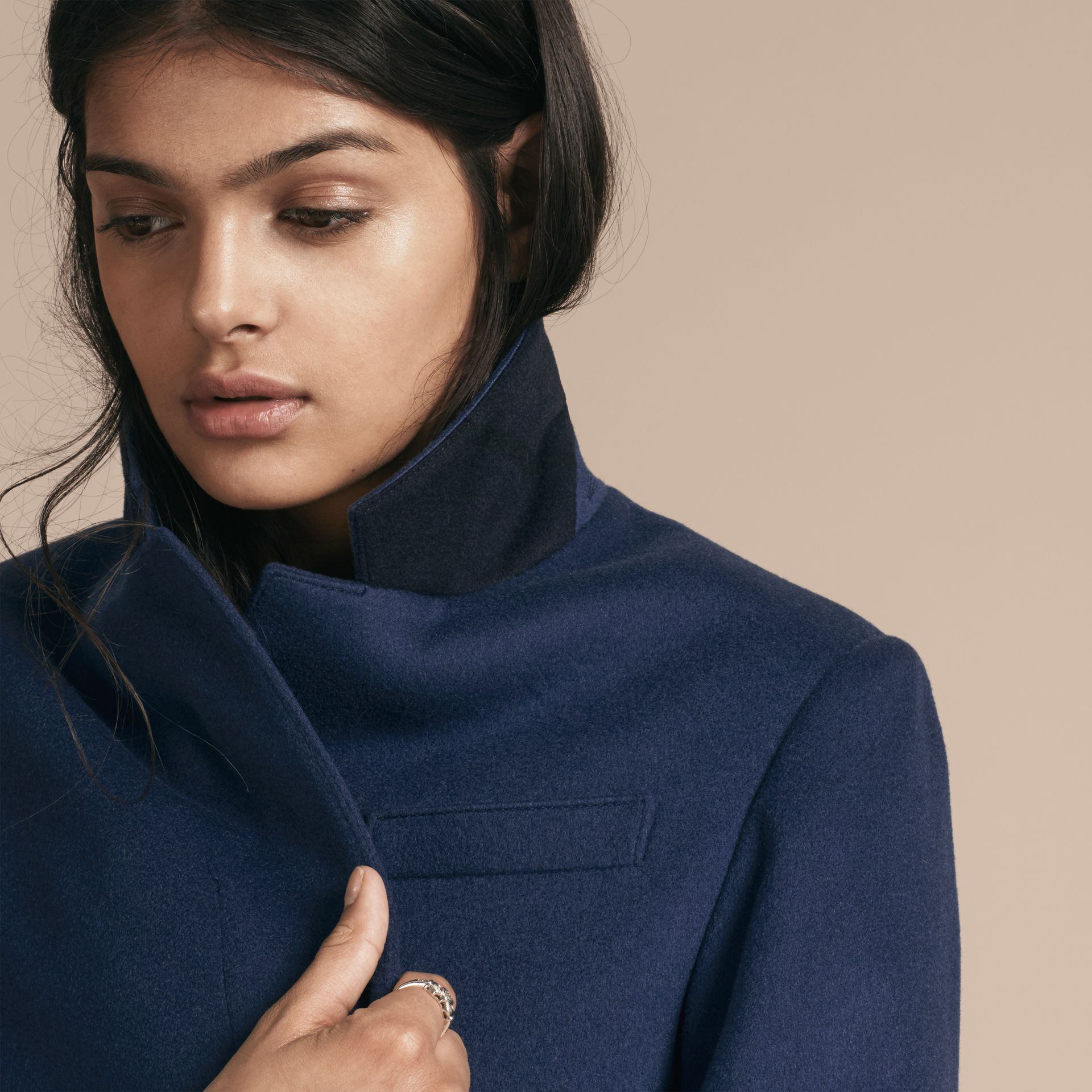 Bright navy Cashmere Tailored Coat Bright Navy - gallery image 5