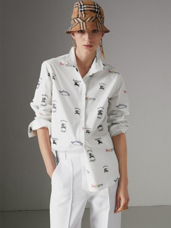 Camisa de algodão stretch com estampa de três logos do acervo (Multicolorido)