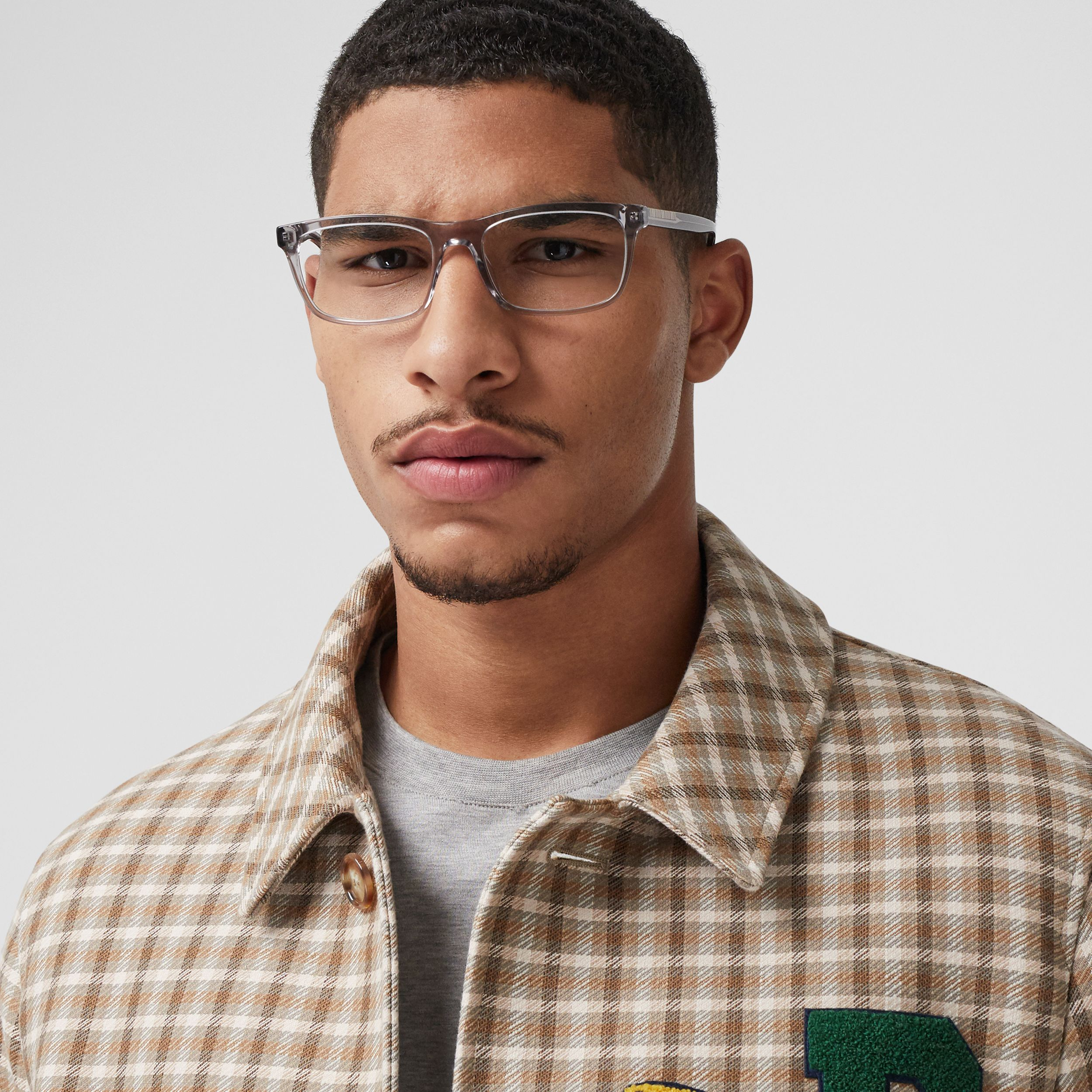 Icon Stripe Detail Rectangular Optical Frames in Grey - Men | Burberry - 3