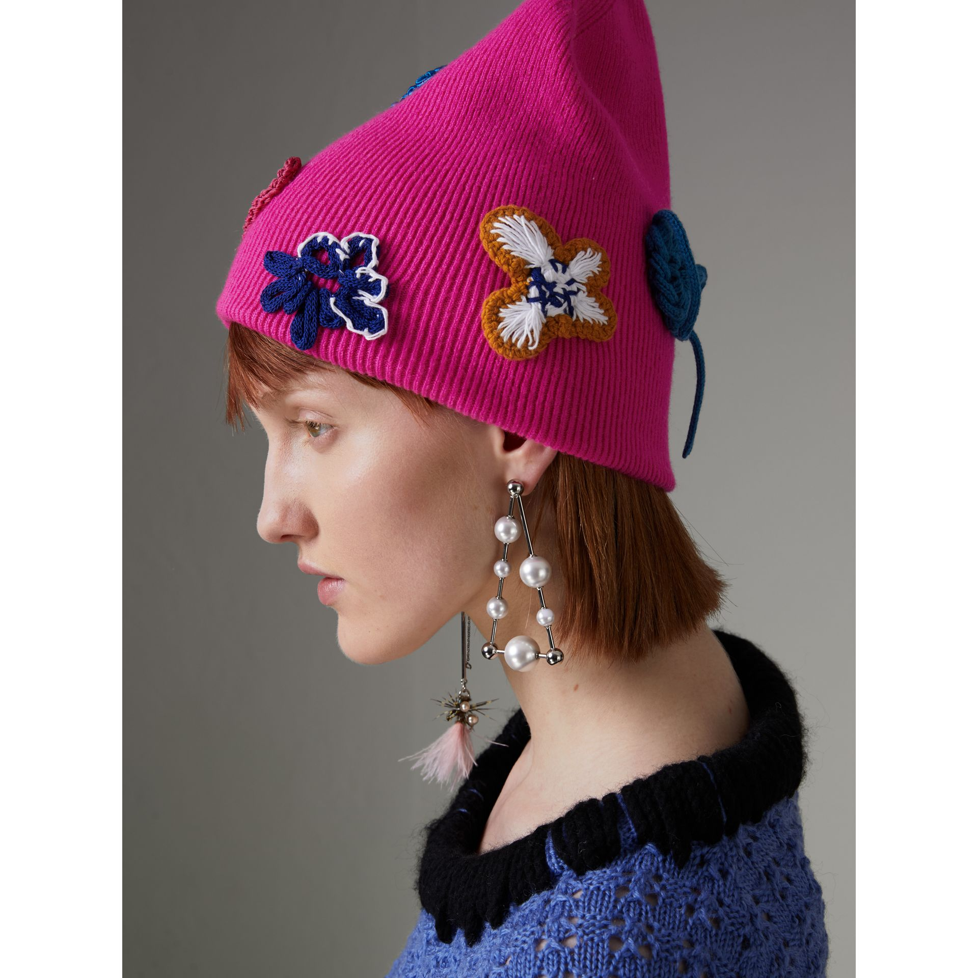 Floral Crochet Cashmere Blend Beanie in Fuchsia Pink | Burberry United Kingdom - gallery image 4