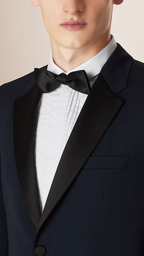 Navy Modern Fit Virgin Wool Half-canvas Tuxedo - Image 3