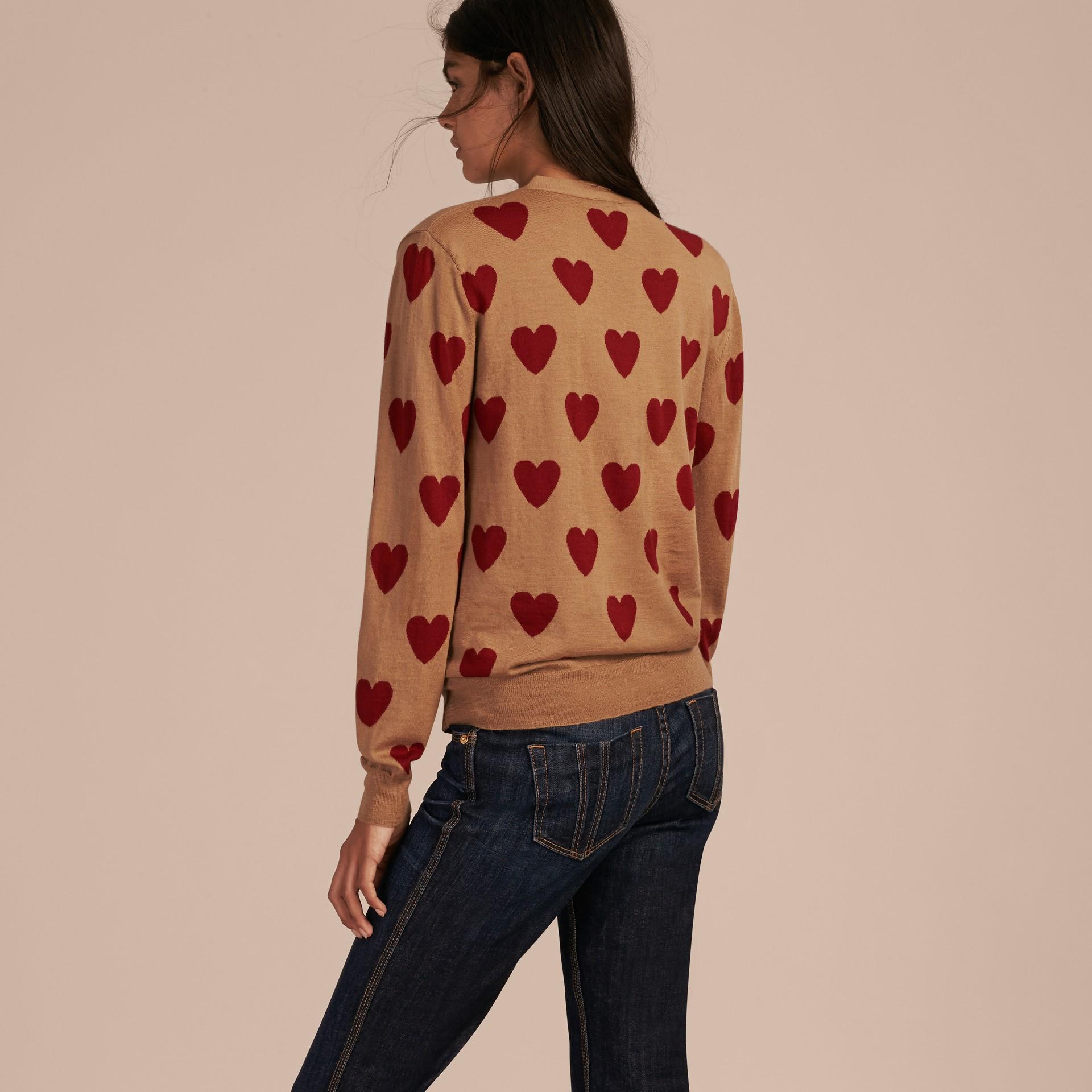 Heart Intarsia Merino Wool Cardigan in Camel - gallery image 2