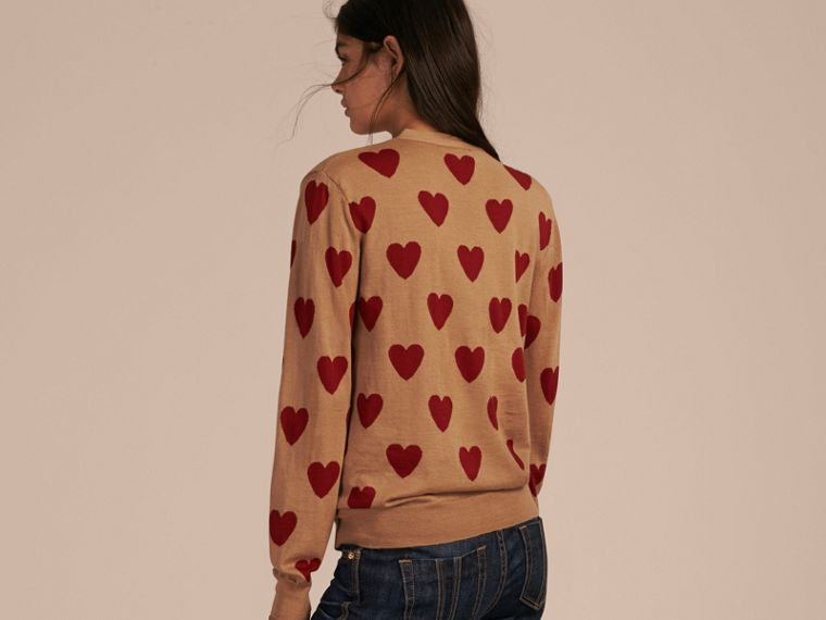 Heart Intarsia Merino Wool Cardigan in Camel - cell image 1