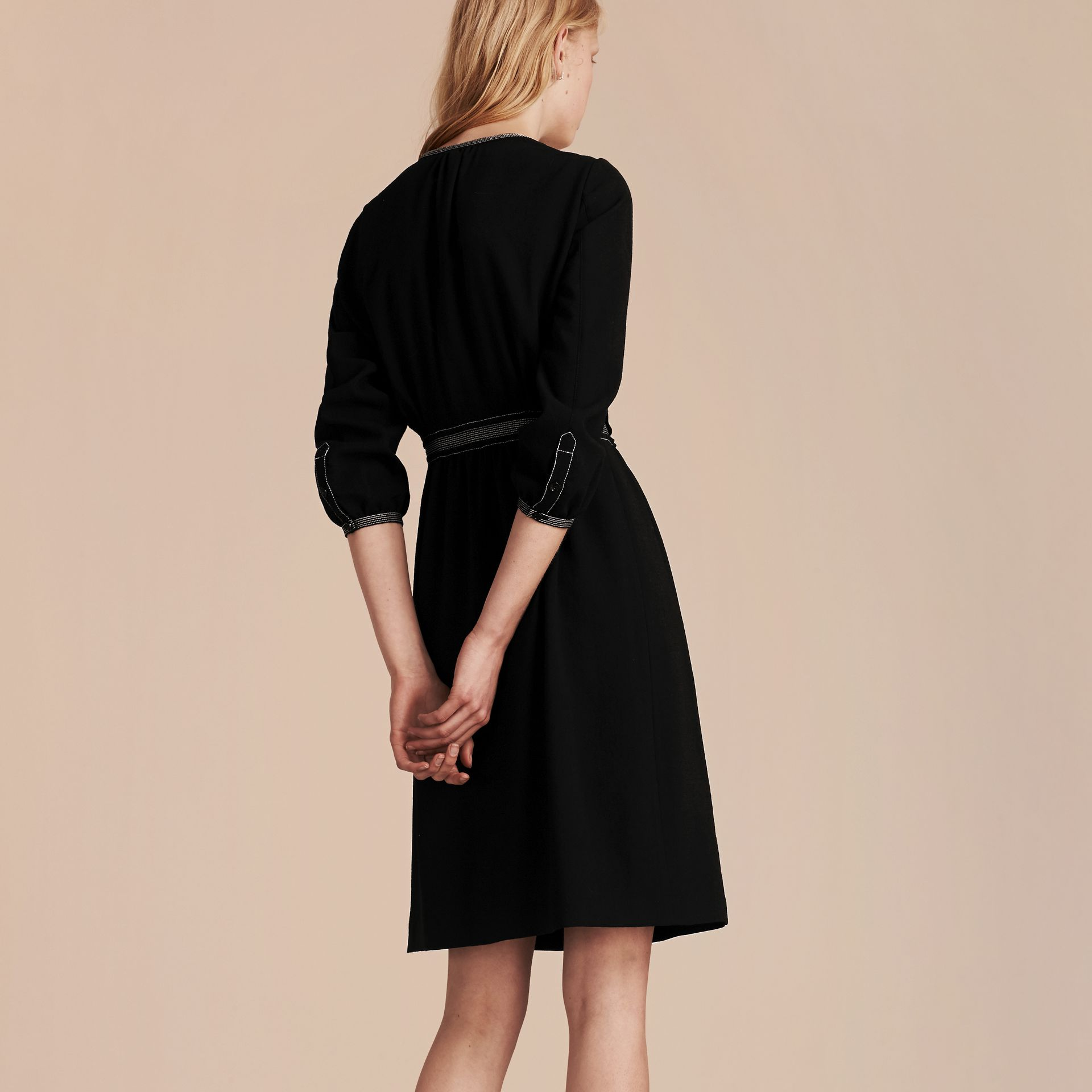 Black Topstitch Detail Wool Crepe Dress - gallery image 3