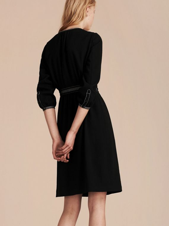 Black Topstitch Detail Wool Crepe Dress - cell image 2