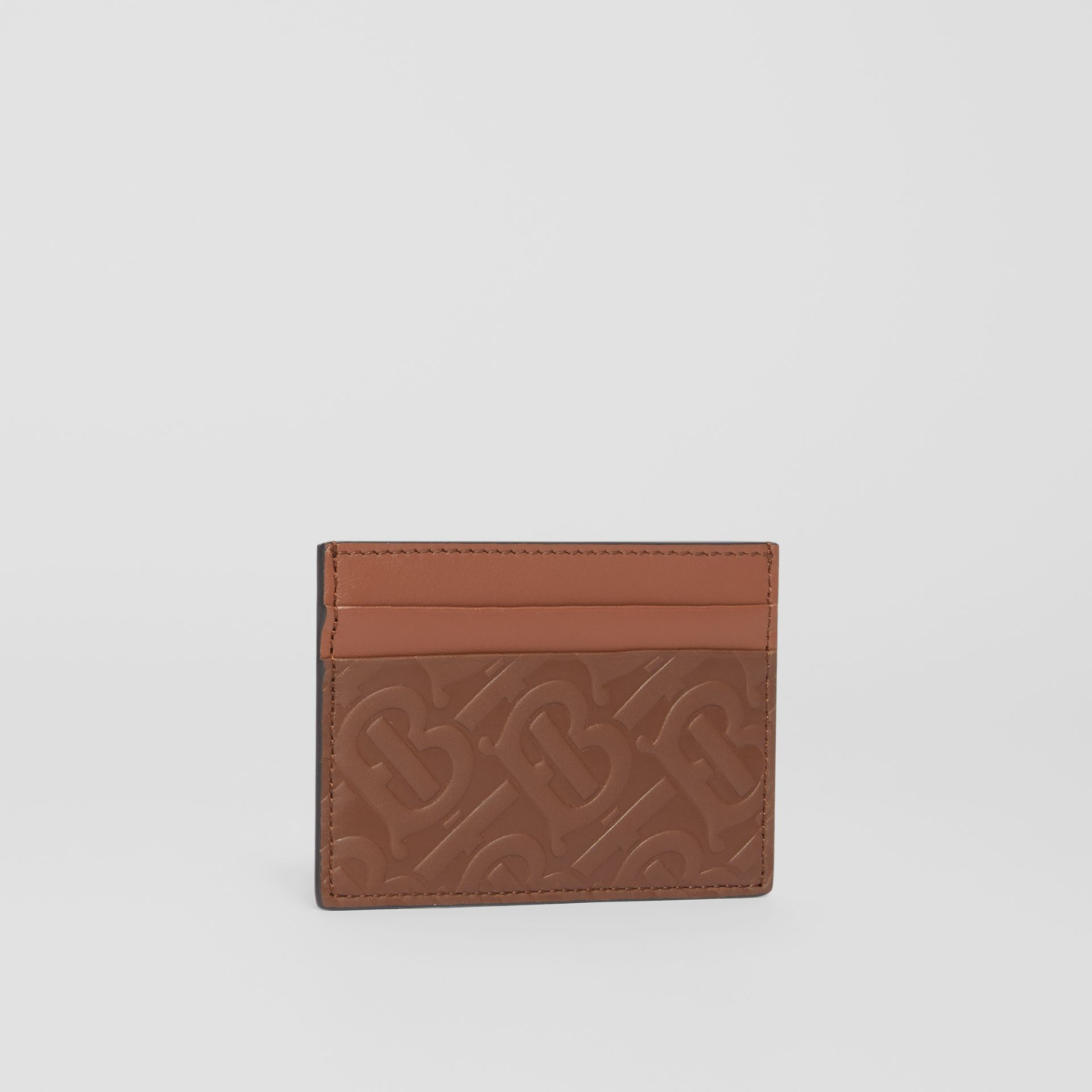 Monogram Leather Card Case in Dark Tan | Burberry - gallery image 3