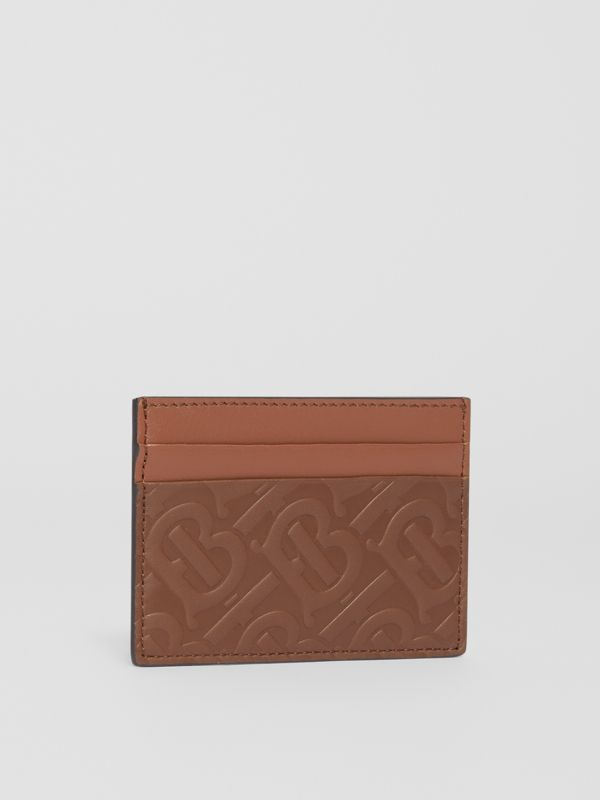 Monogram Leather Card Case in Dark Tan - Men | Burberry Canada - cell image 3