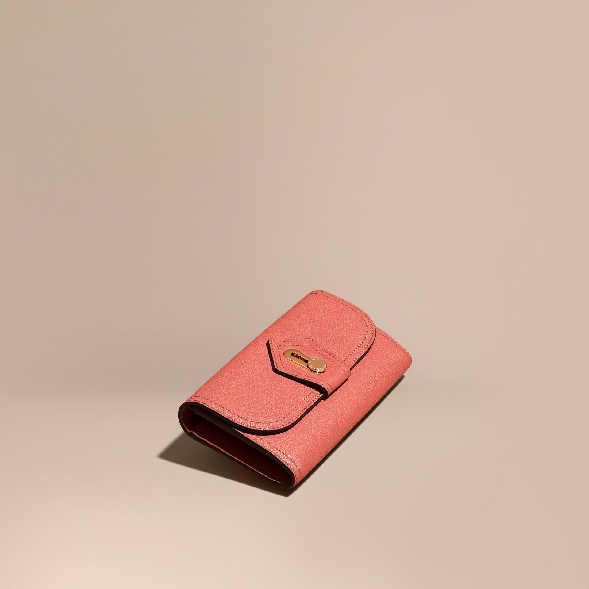 Copper pink Textured Leather Continental Wallet Copper Pink - gallery image 1