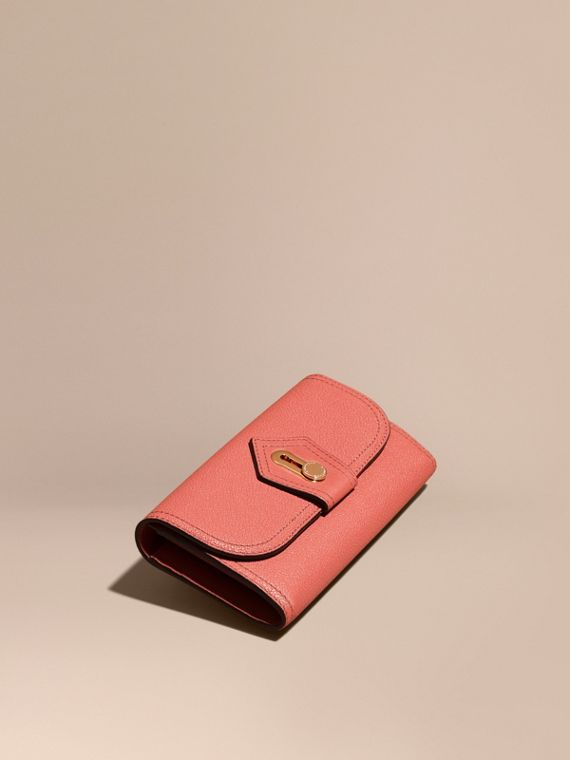 Textured Leather Continental Wallet Copper Pink