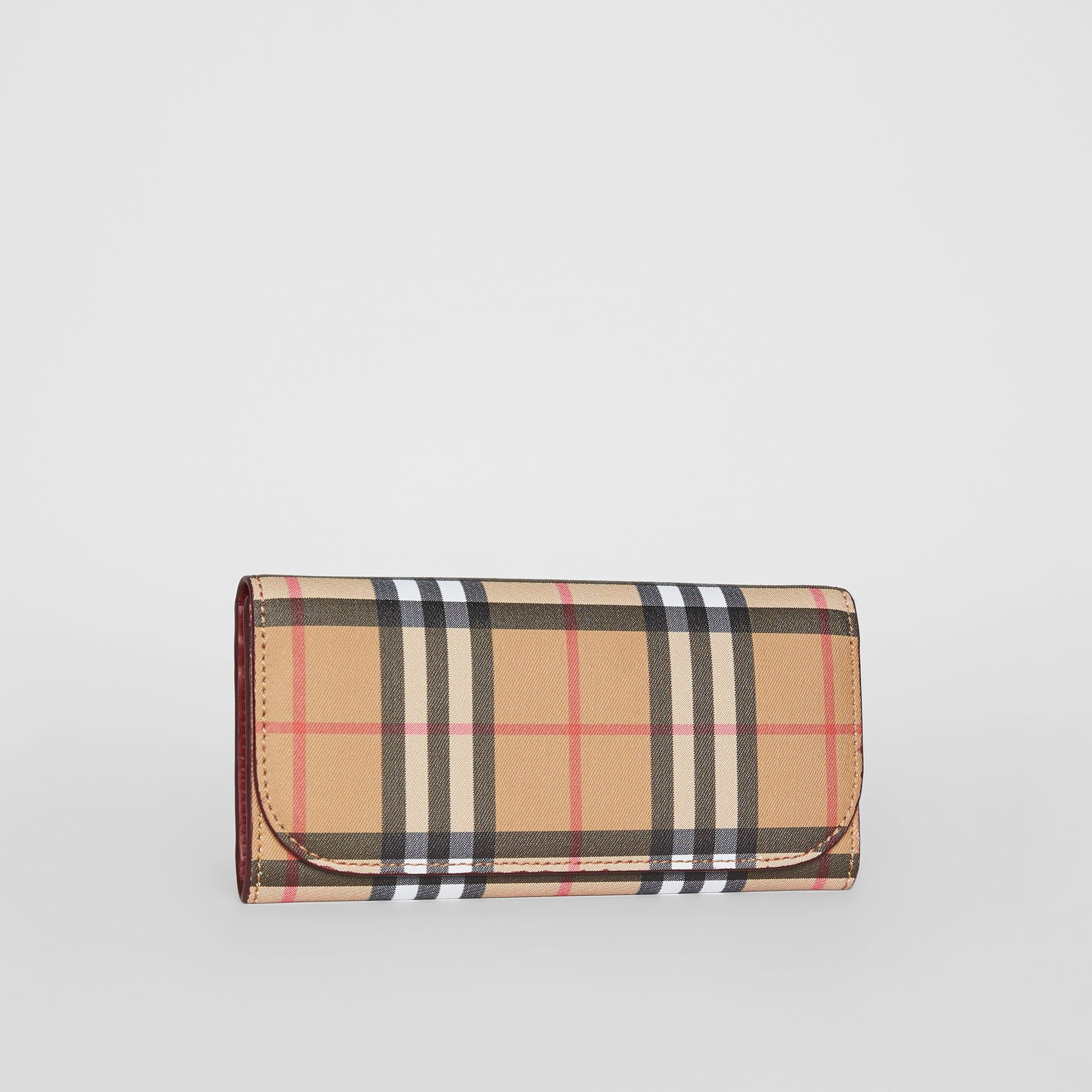 Vintage Check and Leather Continental Wallet in Crimson - Women | Burberry Australia - gallery image 3