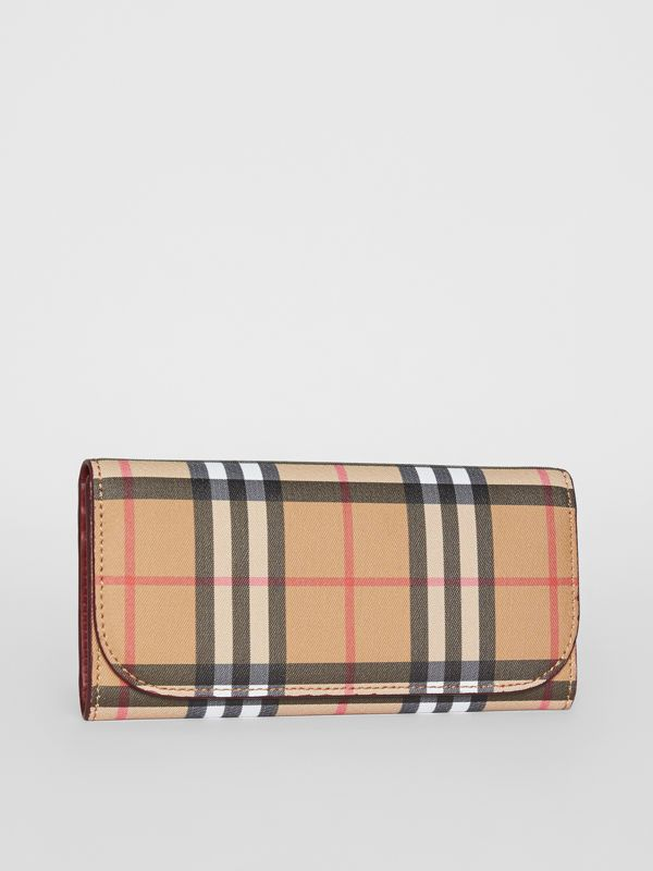 Vintage Check and Leather Continental Wallet in Crimson - Women | Burberry United Kingdom - cell image 3