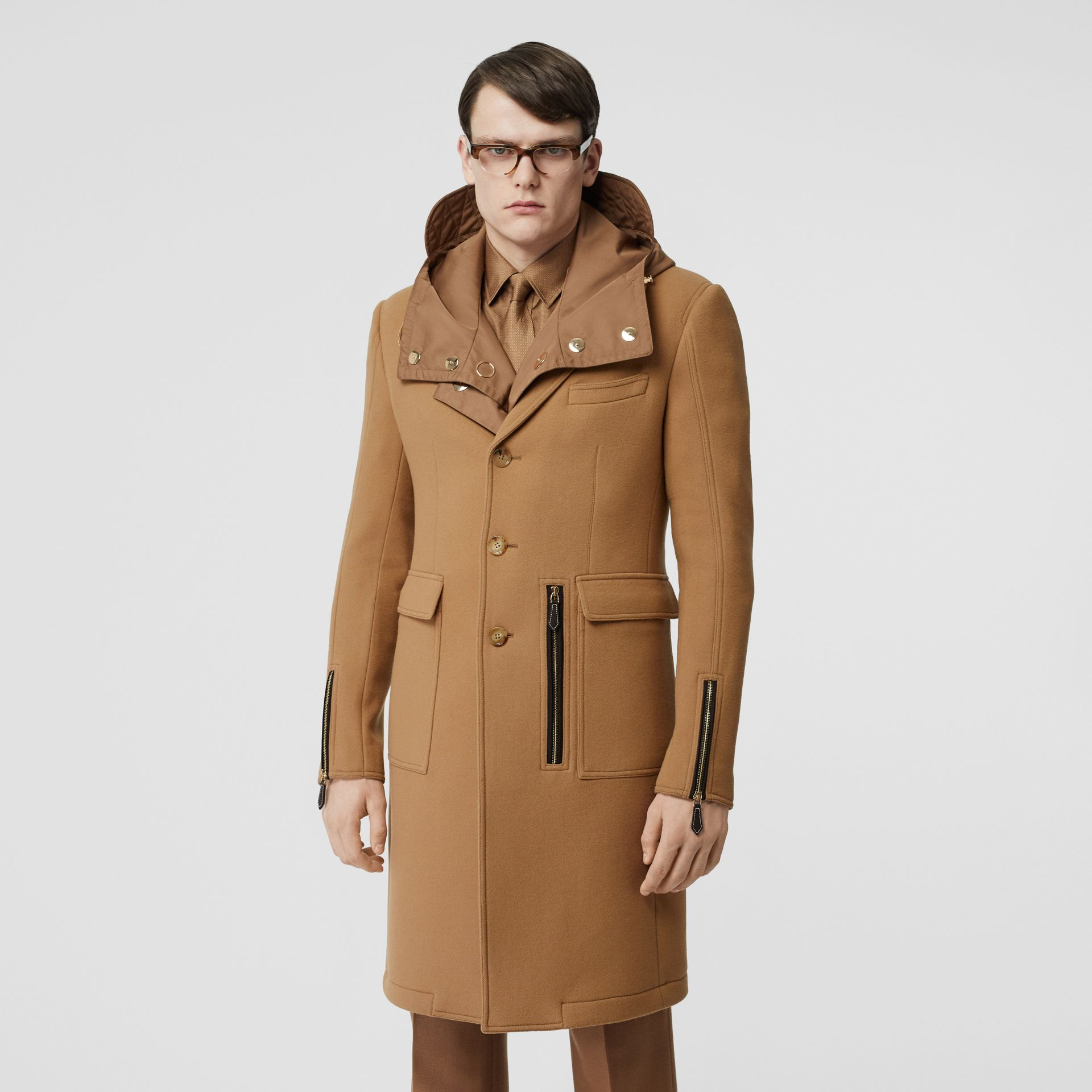 Zip Detail Wool Tailored Coat in Warm Camel - Men | Burberry Singapore - gallery image 5