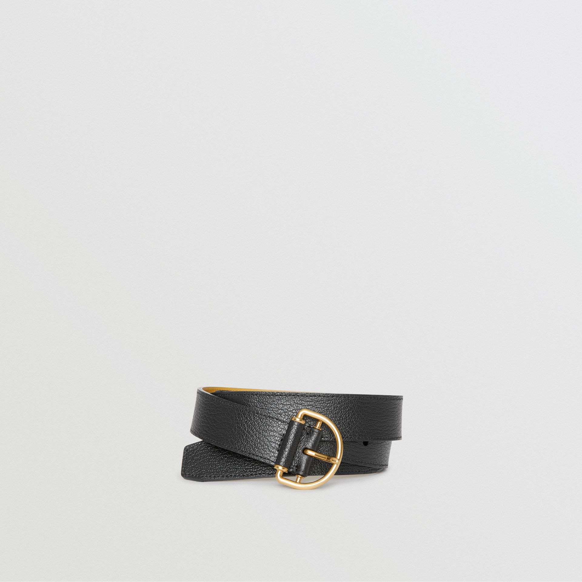 Grainy Leather D-ring Belt in Black/cornflower - Women | Burberry - gallery image 0