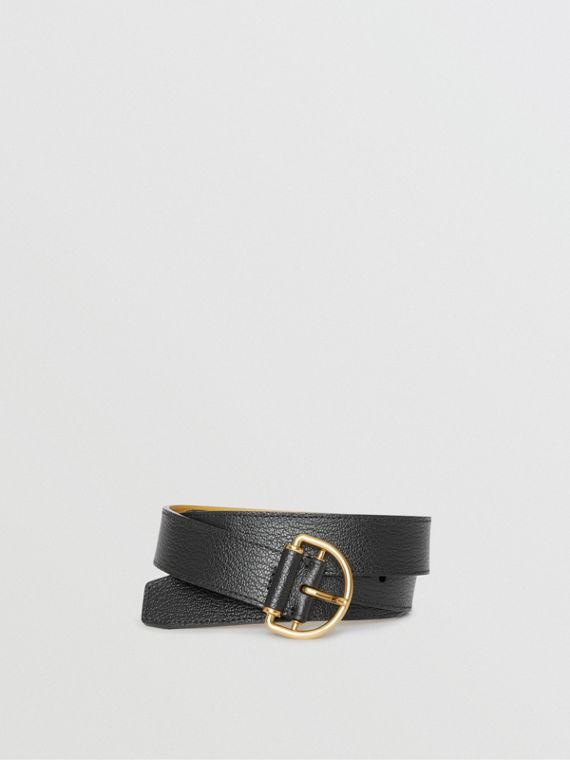 Grainy Leather D-ring Belt in Black/cornflower