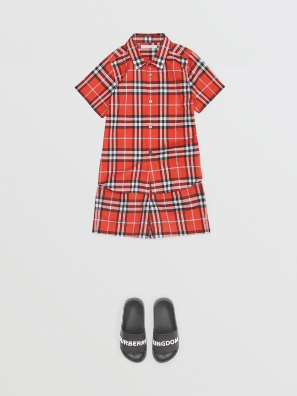 Check Cotton Tailored Shorts in Orange Red | Burberry United States - cell image 2