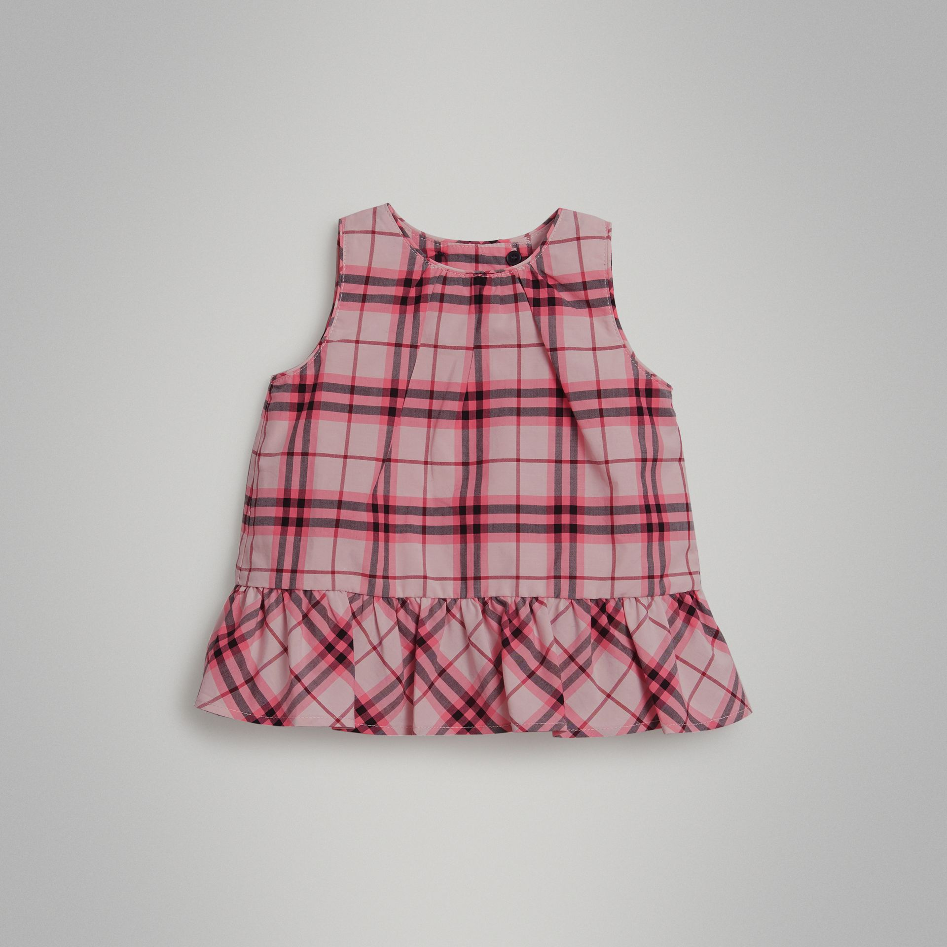Haut en coton à motif check avec volants (Rose Vif) - Enfant | Burberry Canada - photo de la galerie 0
