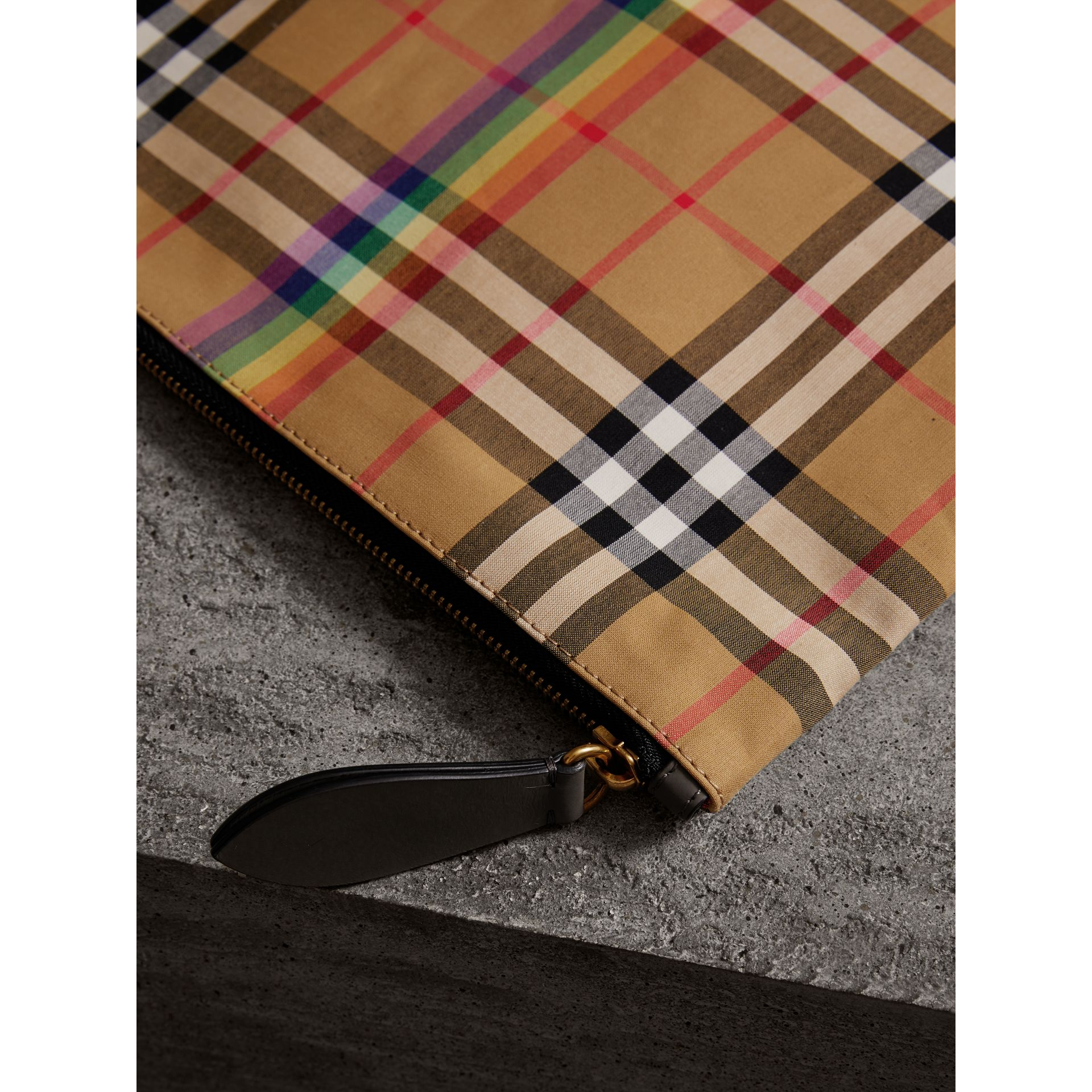Large Rainbow Vintage Check Pouch in Dark Grey | Burberry - gallery image 1